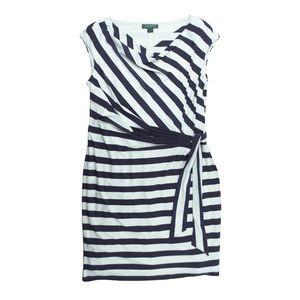 LAUREN RALPH LAUREN Navy White Stripe Wrap Dress